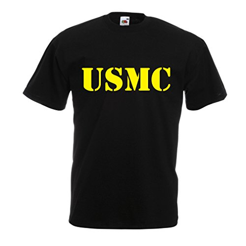lepni.me T Shirts For Men USMC Emblem, Marine Corps, Marines Logo, US Navy Armed Forces (XXXX-Large Black Yellow)