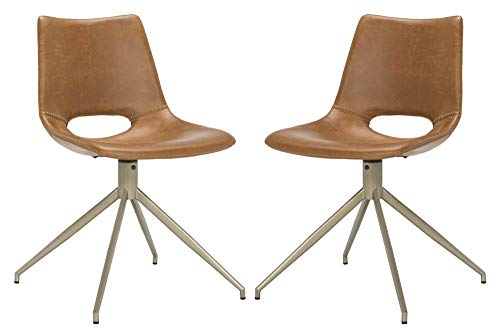 Safavieh ACH7001A-SET2 Home Collection Danube Midcentury Modern Light Brown and Brass Leather Swivel Dining Accent Chair, Copper