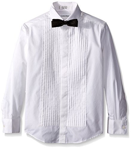 Calvin Klein Big Boys' Long Sleeve Tuxedo Shirt and Bowtie, White, 14
