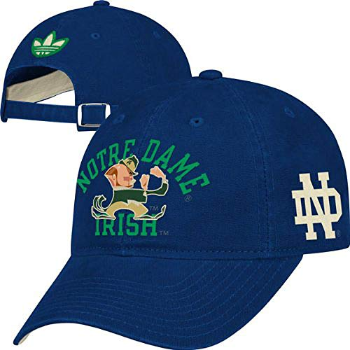 (adidas Notre Dame Fighting Irish Blue Tradition Slouch Fit Adjustable Cap)