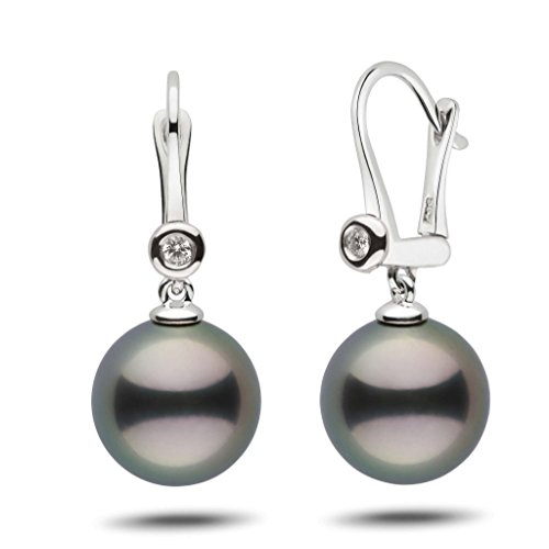 Romantic Collection Tahitian 12.0-13.0 mm Cultured Pearl & Diamond Dangle Earrings 14K White Gold - Diamonds 13mm Tahitian Pearl Ring