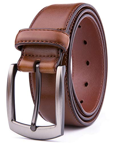 (Men Genuine Leather Belts, Fashion & Classic Design for Casual and Dress (46, Cognac)