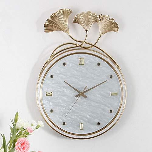 Xihouxian Home European Fashion Ginkgo Biloba Creative Wall Hanging Clocks, Beautiful Atmosphere, Pure Copper Material, Plexiglass Mirror. Size: 55.537.5 cm. Z50