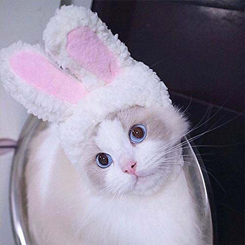 Delifur Pet Bunny Ears Headband Cute Cat Easter Costume White and Pink Rabbit Hat Decoration -