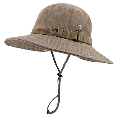 - LETHMIK Washed Cotton Boonie Hat Outdoor Unisex Fishing Camping Safari Sun Hat Flaxen