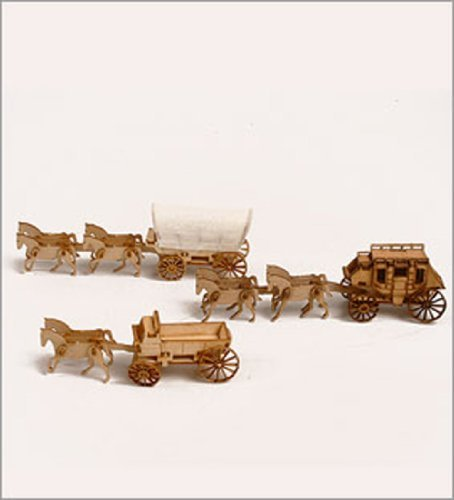 Desktop Wooden Model Kit Western Wagon Set