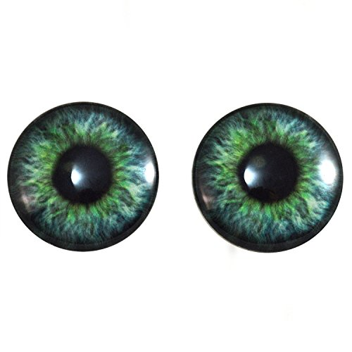 Megan's Beaded Designs 40mm Pair of Teal Green Glass Eyes for Jewelry Making, Dolls, Sculptures, More