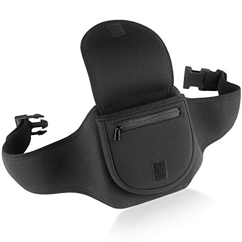 Deluxe Portable CD Player Holder Case with Belt - Black - for Exercise, Hiking or Biking
