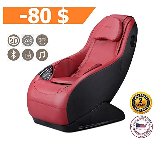 (GURU Massage Chair - Red (2019 New Model) - 3 Massage Modes - 3D Surround Sound - Relax Armchair with Bluetooth and USB Charge Port System - 2 Years Official Warranty by GLOBAL RELAX US)