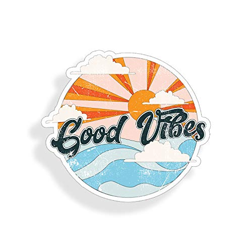 Good Vibes Ocean Sticker Beach Sun Wave Cup Cooler Laptop Car Vehicle Window Bumper Vinyl Decal Graphic