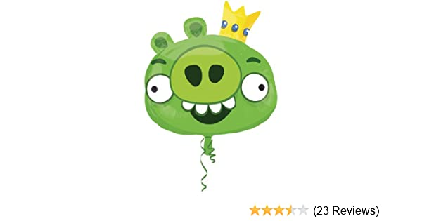 Pack of 3 Super Shape Green King Pig Foil Helium Balloons Angry Birds Party