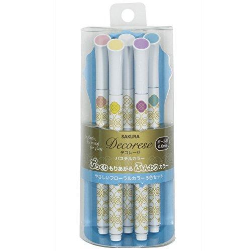 Sakura Ballpoint Pen for Decoration, Decorese Pastel 5 Color Set B, Floral Color (DB206P5B)