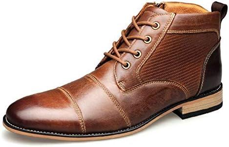 男性ハイトップドレスオックスフォードレースアップ本革磨かスタイルステッチサイドジッパーパッチワークアンチスキッドのためのアンクルブーツ YueB HAJ (Color : 褐色, サイズ : 25 CM)