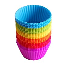 24-Pack Reusable Silicone Baking Cups, Cupcake Liners, Muffin Cups Cake Molds Sets- Non-Stick,Food Grade ,with 6 Vibrant Colors Round