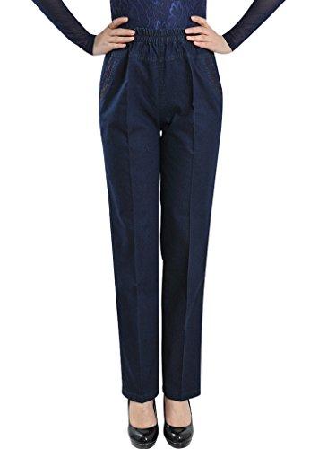 Femmes Fonc Bleu Bigassets Taille haute Jeans Denim tendue gy184Owq