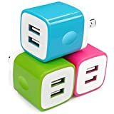 USB Wall Charger, 3-Pack Dual Port 2.1Amp Wall Charger Power Adapter USB Plug Charging Block Cube Charger Base for iPhone X 8 7 6 Plus, iPad, Samsung Galaxy S8/S7/S6 Edge, LG, Moto, More USB Charger
