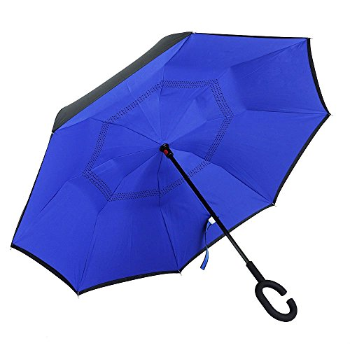 Double Layer Inverted Umbrella Windproof UV Protection Reverse folding Cars Reversible Umbrella by MY'S (Royal (Unique Electronic)
