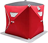 Portable Pop-up 2-person Ice Shelter Fishing Tent Shanty w/Bag Ice Anchors Red