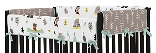 Sweet Jojo Designs Aqua Blue and Gray Outdoor Adventure Long Front Rail Guard Boys or Girls Baby Teething Cover Crib Protector Wrap