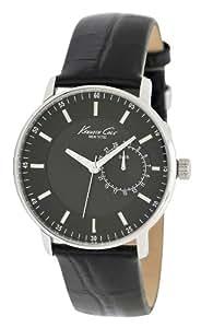 Kenneth Cole KC1846 - Reloj analógico de cuarzo para hombre con correa de piel, color negro