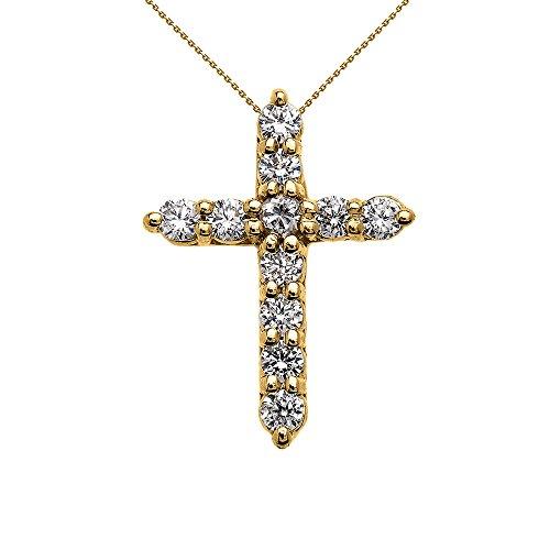 Collier Femme Pendentif Élégant 14 Ct Or Jaune 1 Carat Rond Oxyde De Zirconium (Très Petit) Croix (Livré avec une 45cm Chaîne)