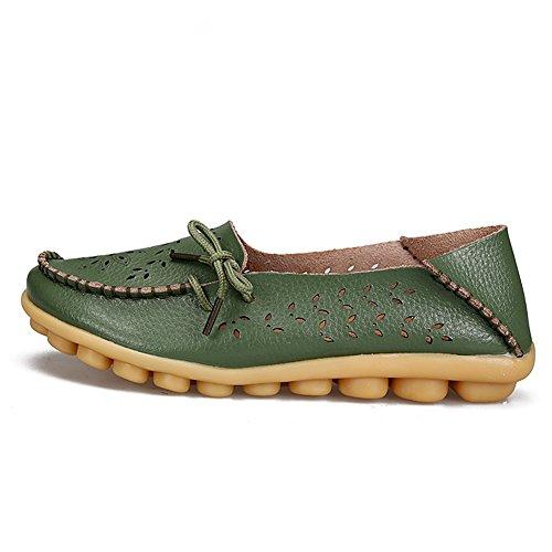 Fereshte Femmes En Cuir Véritable Découpe Mocassins Occasionnels Pantoufles Enfiler Des Chaussures Plates Pour Mère Armée Vert