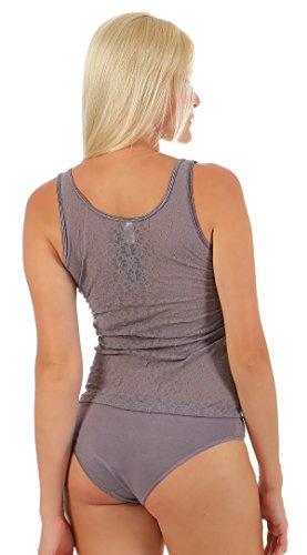 Damen Ausbrenner Achseltop Unterhemd Baumwolle mit Elasthan teilunterlegt-Schöller-Grau Größe 38