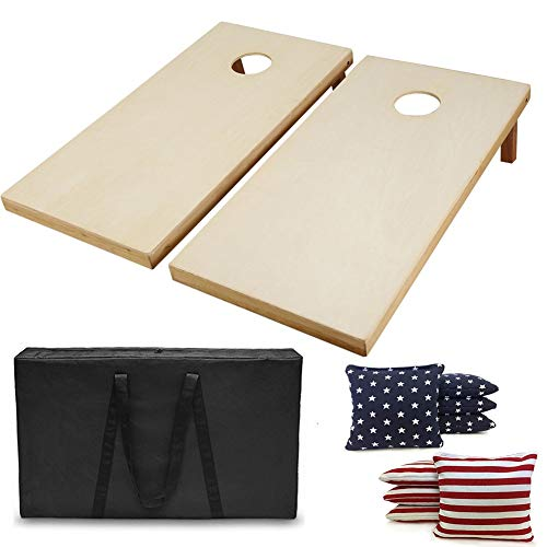 AceLife Solid Wood Premium Cornhole Set with 8 Bean Bags and Carrying Case, Star and Stripe -