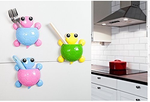 Bestga Creative Cute Cartoon Turtle Kids Wall Suction Cup Mount Toothbrush Toothpaste Holder Pencil Pen Phone Container Box Travel Organizer Plastic Pocket Storage Organizer - Green