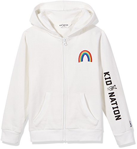 Kid Nation Kids' Graphic Zip Hoodie Fleece Jacket for Boys or Girls L White