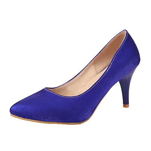Amoonyfashion Mujeres Pu Con Punta De Los Pies-kitten-heels Solid Pumps-Zapatos Blue