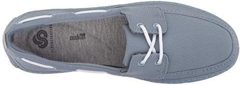 Clarks Womens Step Maro Sand Boat Shoe, Blue/Grey Textile, 8.5 Medium US