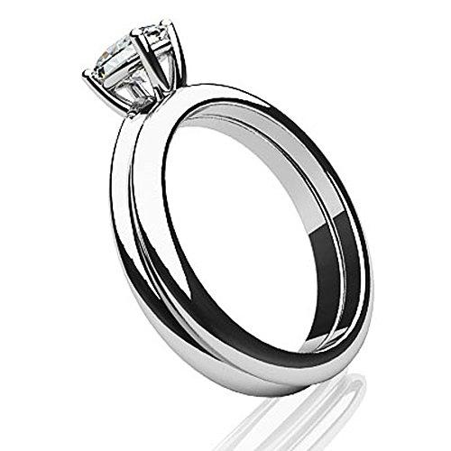 14K Or blanc Amour avec pas de limites ovale Solitaire de mariage Ensemble