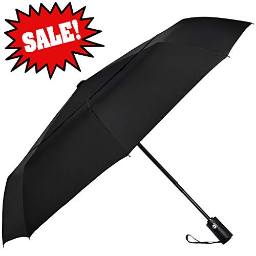SHINE HAI Windproof Travel Umbrella, Double Canopy Construction, Automatic Open Close for One Handed Operation, Compact Lightweight Umbrella for Rain Snow