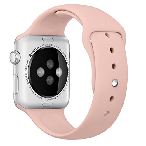 Sunfei ®orts Silicone Bracelet Strap Band For Apple Watch 38mm 42mm (Pink, 38mm)