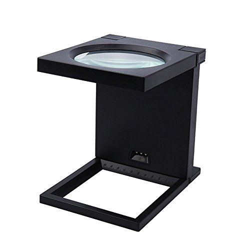 Electric Magnifier - LIULIFE Magnifiers Desktop Magnifying Glass Lamp Mobile Phone Electrical Electronics Hd Repair Folding Square Magnifying Mirror,Black-170170135mm