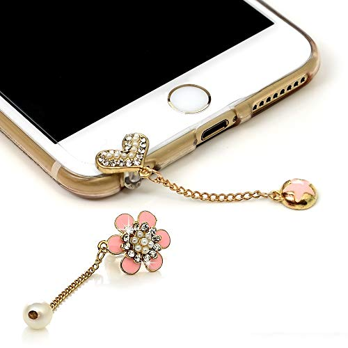 Mavis's Diary 2 Pcs Cute Bling Dust Plugs Accessories/Cell Charms/Ear Jack for iPhone 6 Series,Samsung Galaxy S6 Series,Note 5,HTC M9,LG G4 and Other 3.5mm Earphone Jack Downward (Combination 2)]()