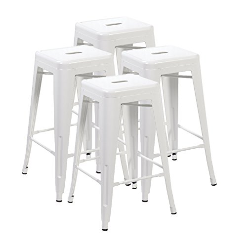 Ayvek Chairs Metal High ProStackable Indoor and Outdoor Backless Barstool (Set of 4), 26.4