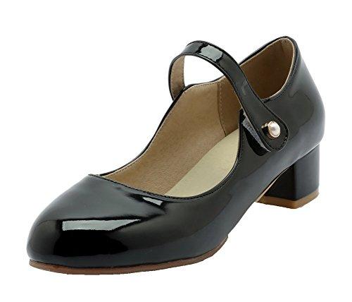 Basso Luccichio Tacco Voguezone009 flats Ballet Velcro Donna Nero HwExU