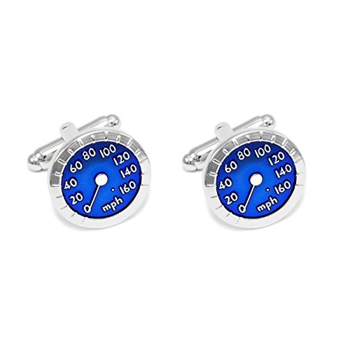 SS Men's Speedometer Stainlesteel Cufflinks 75 Blue