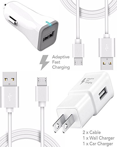Price comparison product image Galaxy S7 and S7 Edge for Samsung Adaptive Fast Charger Micro USB 2.0 Cable Kit by Ixir {Wall Charger + Car Charger + 2 Cable} Adaptive Fast Charging uses dual voltages for up to 50% faster charging!