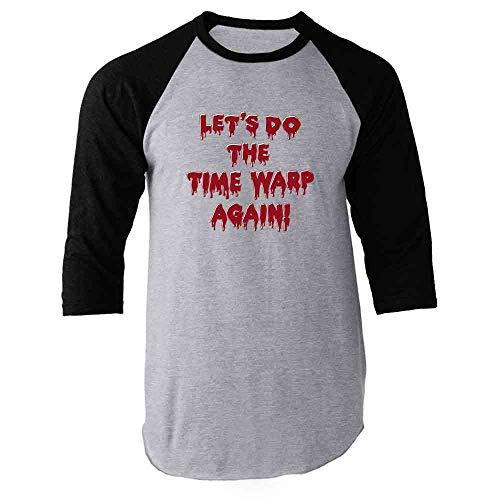 Pop Threads Let's Do The Time Warp Again! Halloween Black M Raglan Baseball Tee Shirt -