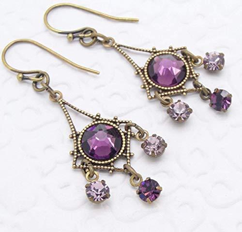 Purple Swarovski Crystal Small Chandelier Earrings -