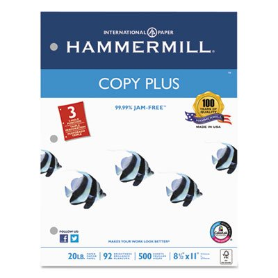 Copy Plus Copy Paper, 3-Hole Punch, 92 Brightness, 20lb, Ltr, White, 500 Shts/Rm, Sold as 2 Ream