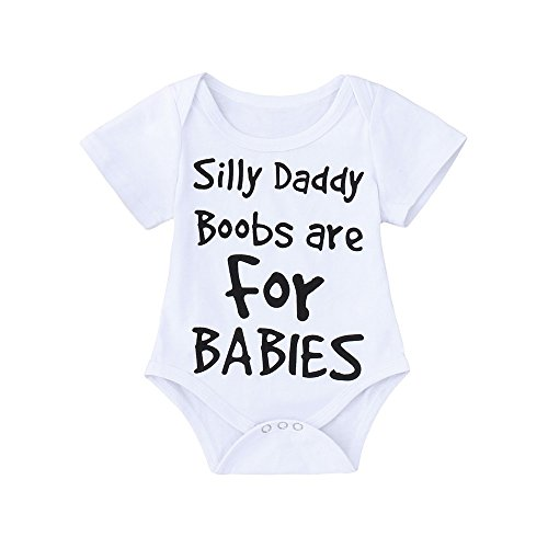 Clearance Sale 0-24 Months Newborn Infant Baby Kids Girl Boy Letter Print Romper Jumpsuit Sunsuit Outfits Clothes (White C, 0-6 Months)