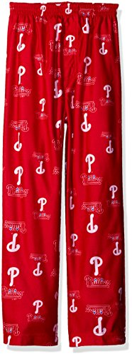 Philadelphia Phillies Pants - Outerstuff MLB Philadelphia Phillies Boys 4-7 Sleepwear All Over Print Pants, Medium (5-6), Athletic Red