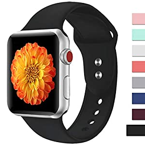 Misker Sport Band Compatible with Apple Watch 42mm 38mm 40mm 44mm,Soft Silicone Strap Replacement Wristbands Compatible with Apple Watch Sport Series 4/3/2/1