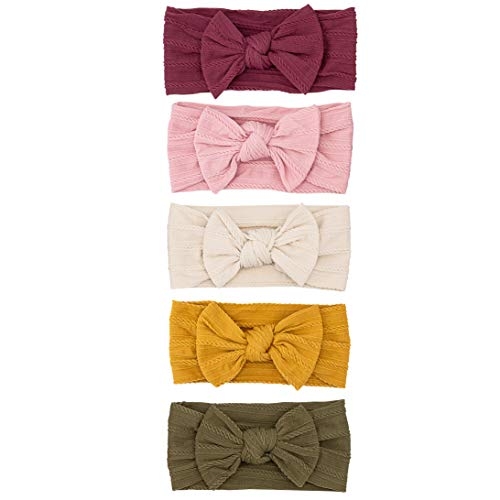 Parker Baby Girl Headbands - 5 Pack of Cable Knit Nylon Bows for Girls