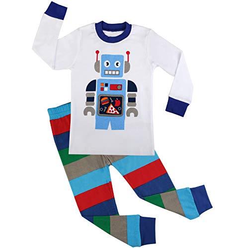 BOOPH Boy Pajamas Cartoon 100% Cotton 2 Piece Sleepwear 2-7T (2T(1-2 Years), White)]()