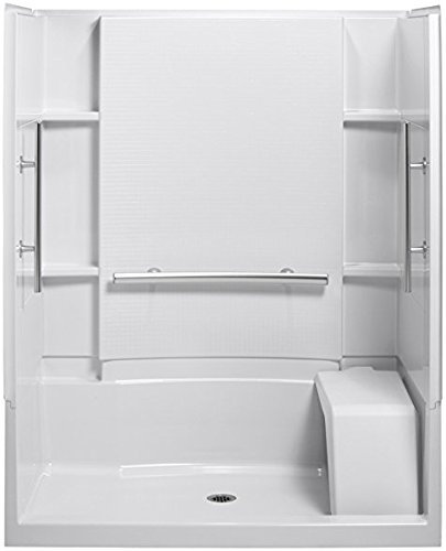 (STERLING 72280103-0 Accord Seated 36-Inch x 48-Inch x 74-1/2-Inch Shower Kit with Grab Bars,)